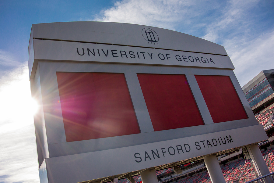 ATHENS UNITED STATES: October 19 2014. An early fall morning sees the sun rise over a beloved stadium in football country