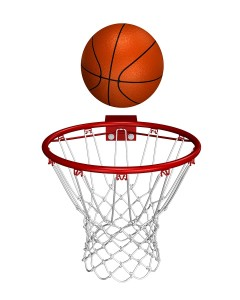 Rendered basket ball over the ring
